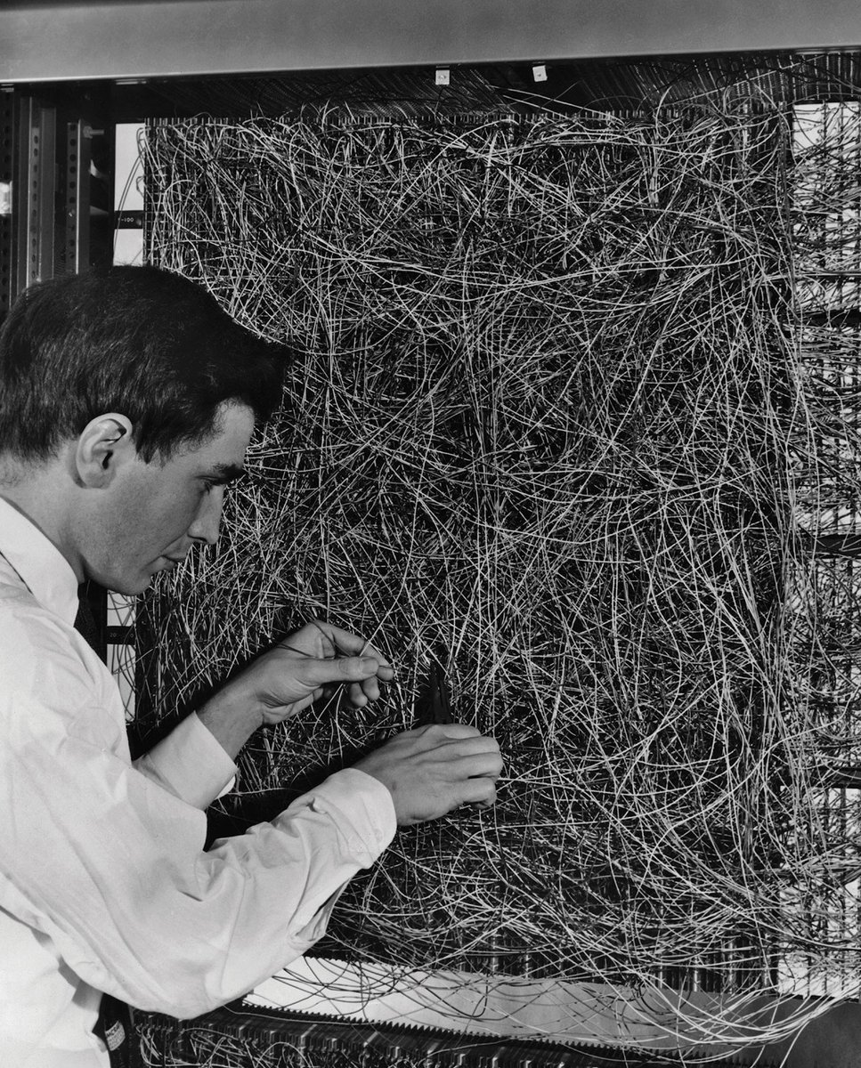 Photograph of a perceptron from 1960, an electronic probabilistic model for brain information processing.